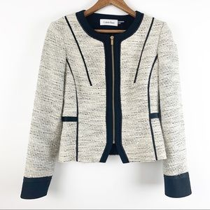 Calvin Klein Tweed Zip Up Jacket Moto Blazer